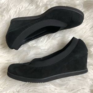 Andre Assous Suede Closed Toe Slip On Wedges